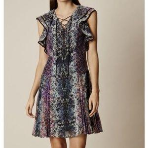 Karen Millen Snakeskin Chiffon lace-up Dress 6